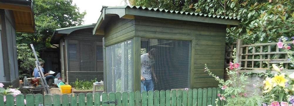 The houses, avaries and cages for the animals and birds are cleaned